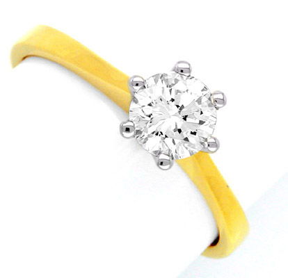 Foto 1, Neu! Solitär Ring 0,57ct Topbrillant 18K Bicolor Luxus!, S8481
