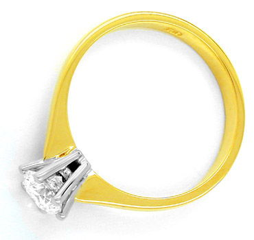 Foto 2, Neu! Solitär Ring 0,57ct Topbrillant 18K Bicolor Luxus!, S8481