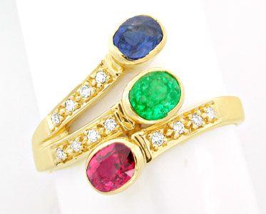 Foto 1, Safir-Rubin-Smaragd-Brillant-Ring Lupenrein Luxus! Neu!, S8489