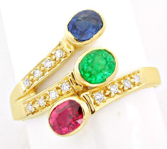 Foto 2, Safir-Rubin-Smaragd-Brillant-Ring Lupenrein Luxus! Neu!, S8489