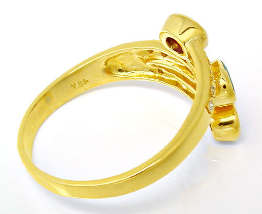 Foto 3, Safir-Rubin-Smaragd-Brillant-Ring Lupenrein Luxus! Neu!, S8489