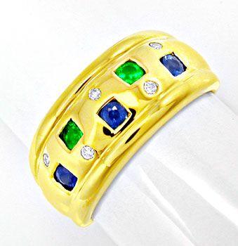 Foto 1, Schöner Brillant-Safir-Smaragd-Ring Luxus Neu Portofrei, S8495