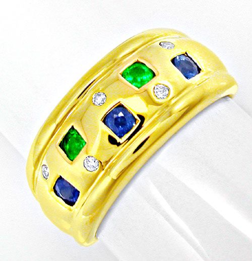 Foto 2, Schöner Brillant-Safir-Smaragd-Ring Luxus Neu Portofrei, S8495