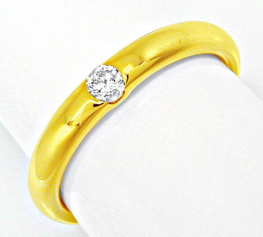 Foto 2, Neu! Brillant-Solitär-Ring, 18K Gelbgold Shop Portofrei, S8496