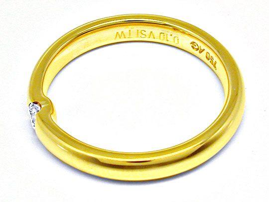 Foto 3, Neu! Brillant-Solitär-Ring, 18K Gelbgold Shop Portofrei, S8496