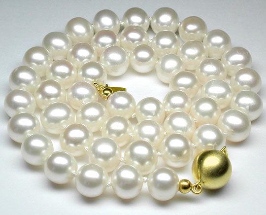 Foto 1, Neu! Super Perlenkette Zuchtperlen 9mm 14K Schloss Shop, S8535