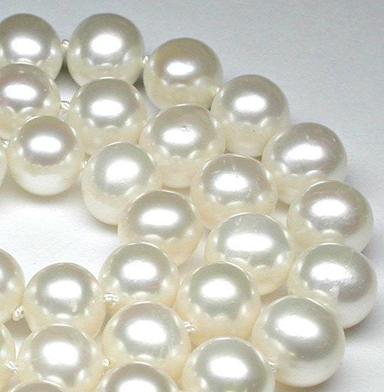 Foto 2, Neu! Super Perlenkette Zuchtperlen 9mm 14K Schloss Shop, S8535