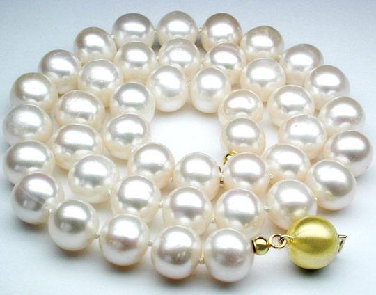 Foto 1, Über 10 mm Spitzen Perlenkette, 14K Gold-Schloss, Luxus, S8549