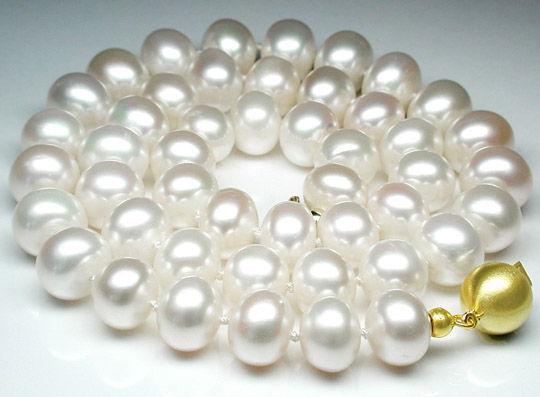 Foto 1, Über 10mm Spitzen Zucht-Perlenkette, 14K Schloss, Luxus, S8556