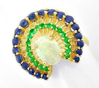 Foto 1, Einmaliger Opal-Safir-Smaragd-Ring Topdesign Luxus! Neu, S8583
