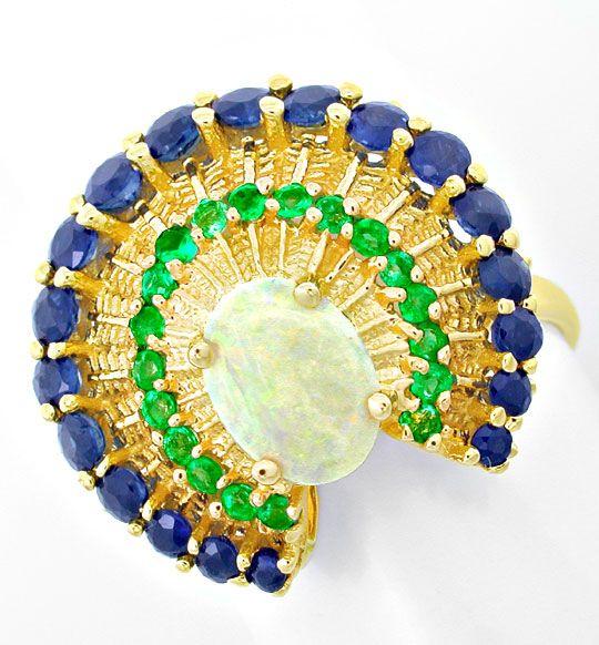 Foto 2, Einmaliger Opal-Safir-Smaragd-Ring Topdesign Luxus! Neu, S8583