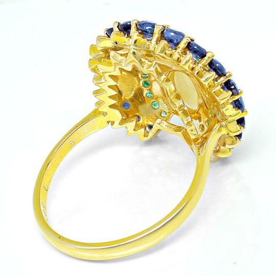 Foto 3, Einmaliger Opal-Safir-Smaragd-Ring Topdesign Luxus! Neu, S8583