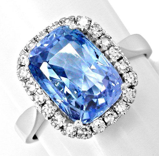 Foto 2, Neu! Riesen-Traum-Safir im Diamant-Ring Luxus Portofrei, S8585