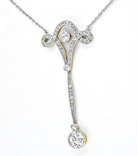 Foto 1, Antikes Diamant-Schenkel-Kollier Jugendstil Platin Gold, S8587