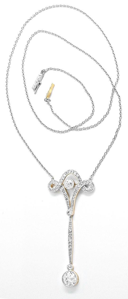Foto 3, Antikes Diamant-Schenkel-Kollier Jugendstil Platin Gold, S8587
