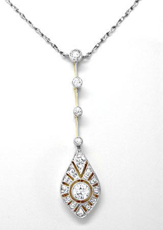Foto 1, Antikes Diamant-Kollier Spitzensolitär Luxus! Portofrei, S8588
