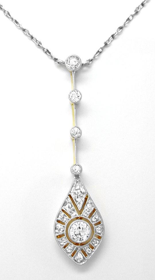 Foto 2, Antikes Diamant-Kollier Spitzensolitär Luxus! Portofrei, S8588