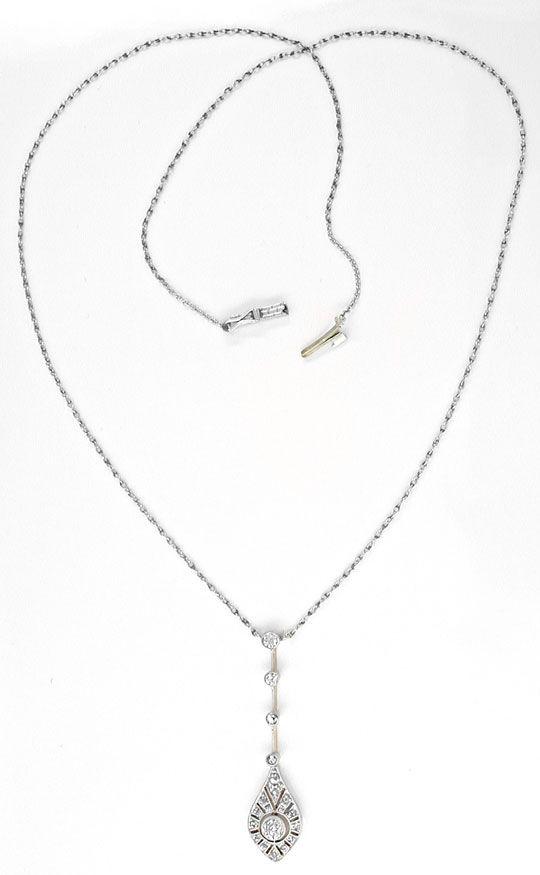 Foto 3, Antikes Diamant-Kollier Spitzensolitär Luxus! Portofrei, S8588