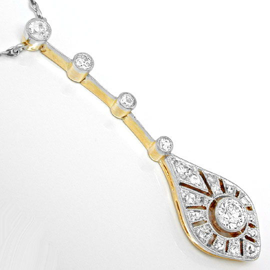 Foto 4, Antikes Diamant-Kollier Spitzensolitär Luxus! Portofrei, S8588