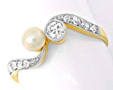 Foto 1, Echt antiker Top-Diamant-Perlring Luxus Neuw. Portofrei, S8591