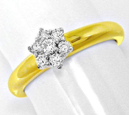 Foto 2, Neu! Top-Moderner Brillant-Ring Bicolor Luxus Portofrei, S8595