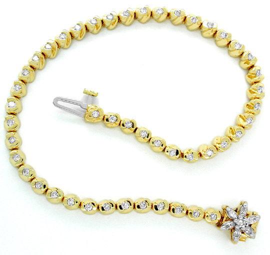 Foto 1, Diamant-Armband 1,02ct Topdesign 14K Bicolor Luxus! Neu, S8600