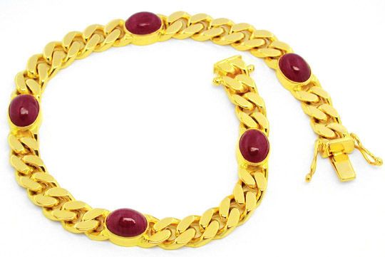 Foto 1, Massives Flachpanzer Goldarmband 5 Riesen-Rubine Luxus!, S8603