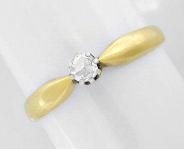 Foto 1, Antiker Diamant-Rosen-Ring, 14K-Bicolor Shop Neuwertig!, S8616