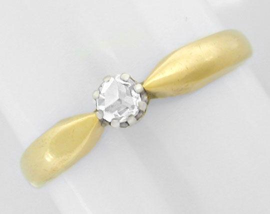 Foto 2, Antiker Diamant-Rosen-Ring, 14K-Bicolor Shop Neuwertig!, S8616