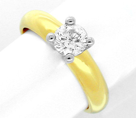 Foto 1, Neu! 1A! Brillant-Solitär-Ring River 18K Bicolor Luxus!, S8621
