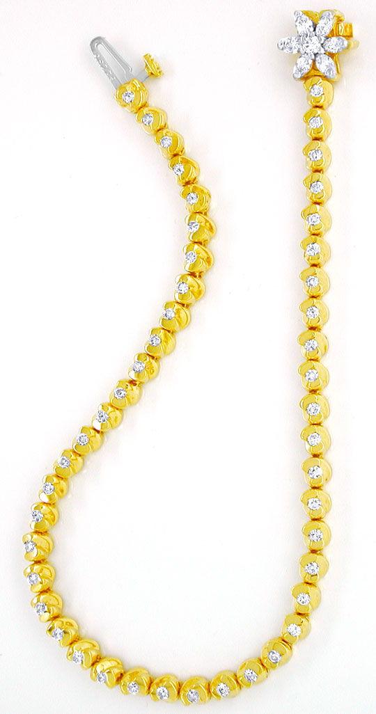 Foto 3, Topdesign-Goldarmband, Diamanten 1,02ct 14Karat Bicolor, S8626