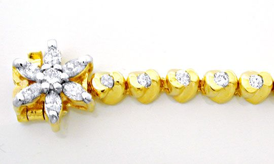 Foto 1, Diamant-Goldarmband 1,02ct Topdesign 14K Bicolor Luxus!, S8627