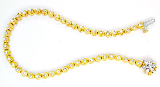 Foto 2, Diamant-Goldarmband 1,02ct Topdesign 14K Bicolor Luxus!, S8627