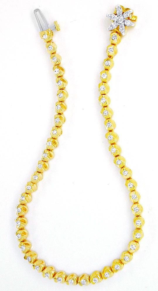Foto 3, Diamant-Goldarmband 1,02ct Topdesign 14K Bicolor Luxus!, S8627
