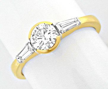 Foto 1, Brillant-Solitär-Ring mit Trapez-Diamanten! Luxus! Neu!, S8628