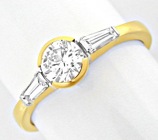 Foto 2, Brillant-Solitär-Ring mit Trapez-Diamanten! Luxus! Neu!, S8628