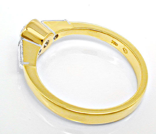 Foto 3, Brillant-Solitär-Ring mit Trapez-Diamanten! Luxus! Neu!, S8628