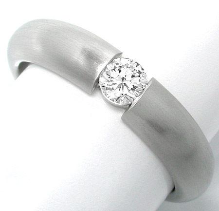Foto 1, Neu! Platin-Brillant-Spann-Ring massiv! Luxus Portofrei, S8630