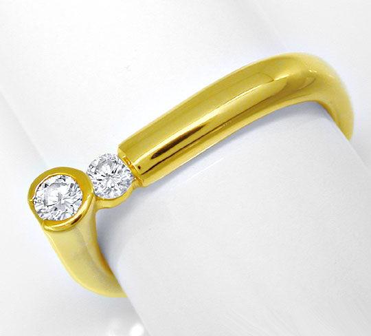 Foto 2, Designer-Brillantring Lupenrein 18K Gelbgold Luxus! Neu, S8635