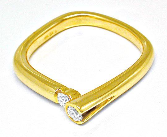 Foto 3, Designer-Brillantring Lupenrein 18K Gelbgold Luxus! Neu, S8635