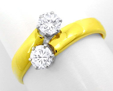 Foto 1, Damen-Ring, 2 Spitzen-Solitäre, 14K-Bicolor Luxus! Neu!, S8637