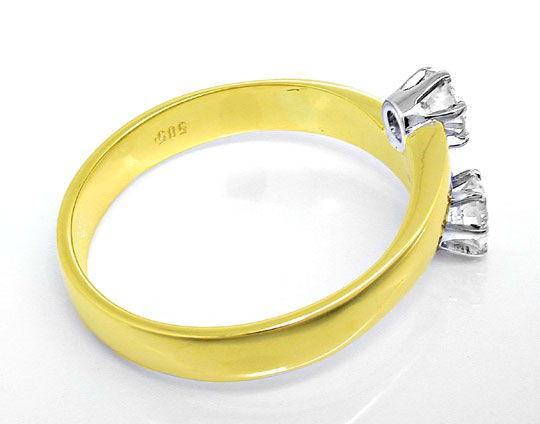 Foto 3, Damen-Ring, 2 Spitzen-Solitäre, 14K-Bicolor Luxus! Neu!, S8637