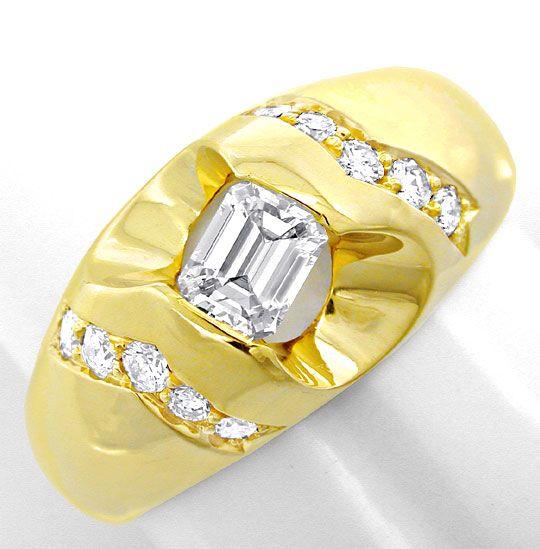 Foto 2, Herren-Diamant-Ring massiv 18K/750 Gelbgold Luxus! Neu!, S8640