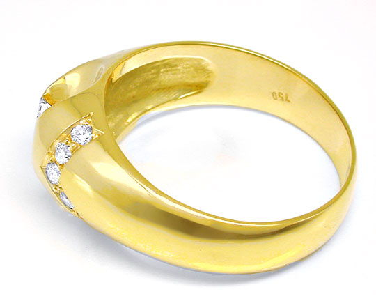 Foto 3, Herren-Diamant-Ring massiv 18K/750 Gelbgold Luxus! Neu!, S8640