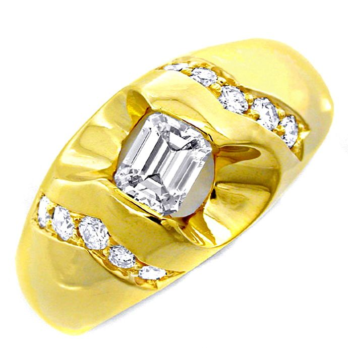 Herren Diamant Ring massiv 18K/750 Gelbgold Luxus! Neu!, Designer Ring