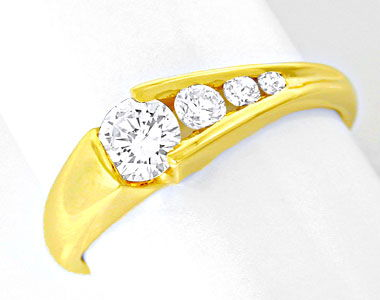 Foto 1, Damen-Brillant-Ring River! 18K/750 Gelbgold Luxus! Neu!, S8641