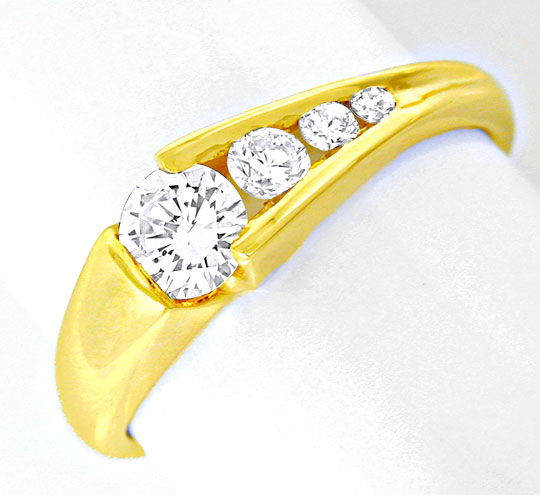 Foto 2, Damen Brillant Ring River! 18K/750 Gelbgold Luxus! Neu!, S8641