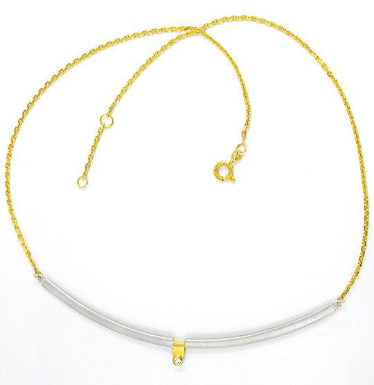 Foto 2, Brillant-Gelbgold-Palladium-Kollier Top-Design Shop Neu, S8644