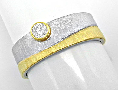Foto 1, Brillant-Designer-Ring 18K-Bicolor Handarbeit Shop Neu!, S8645
