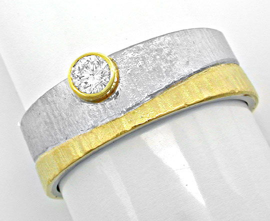 Foto 2, Brillant-Designer-Ring 18K-Bicolor Handarbeit Shop Neu!, S8645
